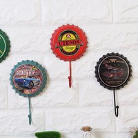 Wholesale bronze metal casting - 20 Options Sandy Bottom Route 66 Metal Painting Beer Cap Shape Vintage Hook Wall Multi-use Wall Hook Coat & Hat Hanger Shelf Wall Decoration