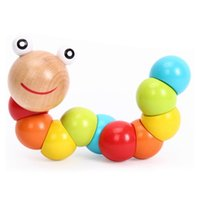 Wholesale wooden caterpillar - Children Early Educational Toys Cartoon Cute Flexible Twisting Caterpillar Wooden Toy Kid Gifts 3 9qm C R