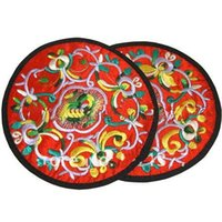 ткань китайская оптовых-Персонализированные круглый вышивка Эко подставки Рождество пользу китайский стиль ткани чашки коврики 20 шт./10 пара цвет смеси