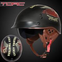 meia capacetes xxl moto venda por atacado-TORC T55 capacete da motocicleta do vintage Harley capacete retro scooter metade do capacete com viseira interior lente casco moto DOT capacete