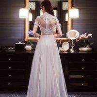 vestido de casamento qipao branco venda por atacado-Branco chinês evening dress qipao longo festa vestido de casamento da forma cheongsam verão mulheres sexy flores robe longue chinoise