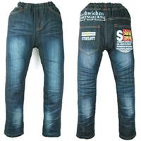 chicos otoño invierno jeans al por mayor-Teen Boys Jeans fleece calentado letras al aire libre imprimir Winter denim Velvet pantalones otoño niño ropa de Halloween MH0317