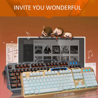 keyboard al por mayor-Rainbow Backlight Wired Gaming Keyboard T21 Teclado Mecánico Touch Wired Luminous Juego