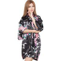 fleurs de kimono noir achat en gros de-Sexy Black Wedding Party Mariée Demoiselle D'honneur Robe D'été Femmes Kimono Peignoir Fleur Paon Sleepwear Casual Home Dressing Gown