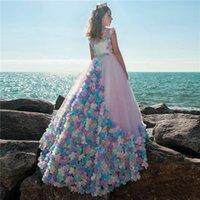 akşam uzun çocuklar giydir toptan satış-3D Çiçek Çiçek Kız Elbise Düğün Için Lüks Uzun Çocuklar Pageant Abiye giyim Için 2018 İlk Communion elbise Kızlar Vestido daminha