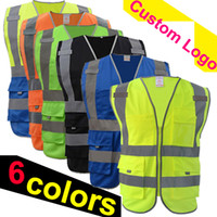 çoklu cep giyim toptan satış-Ücretsiz kargo güvenlik yelek yansıtıcı logo baskı workwear hi vis giyim güvenlik yelek Yüksek görünürlük yansıtıcı yelek çok cepler