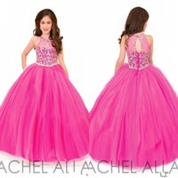 Wholesale rachel allan red for sale - 2018 Rachel Allan Beautiful Fuchsia Ball Gown Girls Pageant Dresses for Teens Beading Crystal Girls Formal Party Dress Gowns BA7478