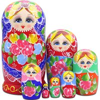 Wholesale russian dolls toys for sale - Group buy 7 pes Matryoshka Russian Doll Wooden Nesting Dolls Hand Printed Set Baby Toy Home Decoration Birthday Gifts