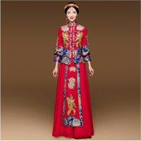 ingrosso abito blu orientale-Cerimonia di apertura Party Show Blue Red Cheongsam abito da sposa Per donne cinesi d'oltremare Vestido Oriental Collar Sexy lungo Qi Pao