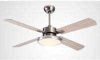 luz de ventilador de madeira venda por atacado-Fan luz restaurante minimalista LEVOU folha de madeira ventilador de teto luz de teto sala de estar ventilador de teto com controle remoto de 42 polegada