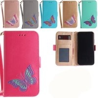 Wholesale Opening Iphone Case - 2018 New Products for iPhone6 hand-painted butterfly embossed cell phone case for the Samsung note8 open purse