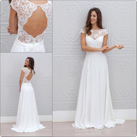 Wholesale Custom Dresses China - 2018 New Bohemia Summer Beach Wedding Dresses Vestido De Noiva China Garden Backless Boho A-line Chiffon Bridal Gowns for Women