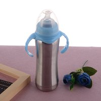 Wholesale milk feeders resale online - Vacuum insulation Nursing Bottle with silicone Nipple Stainless Steel Baby Milk Feeders Infant Bottles oz Kids gift