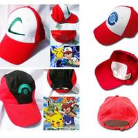 casquettes de pokemon achat en gros de-Pokes Chapeau Cosplay Anime Poche Monstre Ash Ketchum Baseball Trainer Cap Chapeau Cadeau Cool À La Mode XL-H01