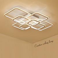 kare kare tavan toptan satış-Yüksek Parlaklık modern led tavan ışıkları oturma odası yatak odası için Kare Daire Yüzük avize Tavan Lambası Fikstür