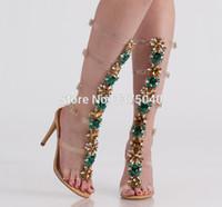 yüksek kayış sandal botları toptan satış-Şeffaf PVC Diz Yüksek Toka Sapanlar Sandal Boots Gladyatör Yaz Taklidi Yüksek Topuklu Kristal Boot Ayakkabı