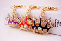 Wholesale crown door resale online - lovely alloy rhinestone crown keychain wedding and baby baptism shower door giveaway gifts souvenirs wen5826
