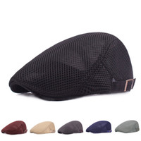 8bf62737 2018 NEW Men Breathable mesh Hat Newsboy Beret Ivy Cap Cabbie Flat snap hats  handsome fitted solid caps for men