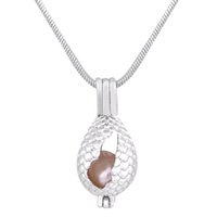 Wholesale egg necklace - dinosaur egg Shape 18k Gold Plated Pearl Cage Pendants Locket For DIY Oyster Pearl Necklace Pendants Jewelry