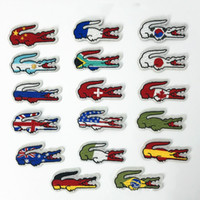 Wholesale iron patches flags - Wholesale Quality Flag Brand Embroidered Patches Iron On Jacket Tshirts Bags Patches Applique DIY Embroidery Crocodile Patch 6*3CM