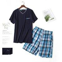 pijama camisa hombre al por mayor-2018 Summer Homewear pijama casual de los hombres conjuntos con cuello en V camisa medio pantalón pantalones masculinos 100% algodón ropa de dormir traje de los hombres ropa para el hogar