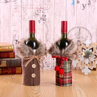 Wholesale flocking cloth resale online - European Style Wine Bottle Sleeve Christmas Bowknot Button Coat Cover Restaurant Home Festival Supplies Wrap Gift yq hh