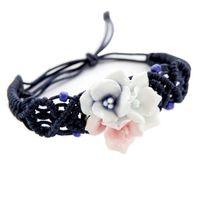 pulseira de tecido chinês venda por atacado-Tecido pulseira estilo chinês pulseira de cerâmica flor de pulso (Três Cores)