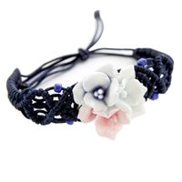 chinesisches gewebtes armband großhandel-Woven Armband im chinesischen Stil Keramik Blume Armband Handgelenk (drei Farben)
