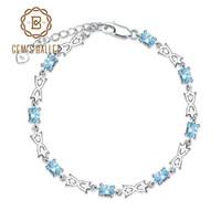 mulher topázio azul venda por atacado-BALÉ GEM'S Casual Azul Natural Topázio 925 Sterling Silver Gemstone Pulseiras Pulseiras Mulheres Jóias Finas 4.8Ct