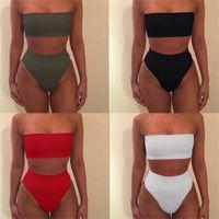 Wholesale xxl bikini swimwear tops for sale - Group buy Beach Swimwear High Waist Two Piece Suits Woman Swimsuit Lady Bikini Femme Bodysuit Swimming Boob Tube Top Bathing wj V