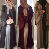 abayas modernos al por mayor-Nuevo Vestido Abaya de manga larga para mujer musulmana Talla grande Oriente Medio Mujer Modern Open Cardigan maxi abierto