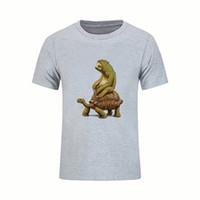 camisas de cuello tortuga al por mayor-2018 camiseta masculina de manga corta ropa de la velocidad es la tortuga relativa y las camisetas de los hombres de perezoso trabajo personalizado camisetas camisa de cuello redondo