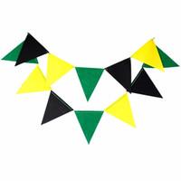 baby dekorationen für kindergarten großhandel-Schwarze, grüne, gelbe Banner, Kindergarten Fahnen Bunting Garland für Hochzeit / Geburtstag / Baby Shower Party Dekoration