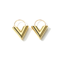 Wholesale Initial Gold - whole saleLWONG 2018 Fashion Gold Color Initial V Earrings for Women Geometric V Hoop Earrings Minimal Simple Everyday Jewelry