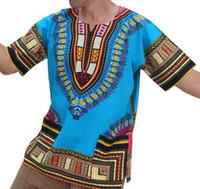 etnik giyim erkek toptan satış-Afrika Elbise Dashiki Elbiseler Yeni Varış Promosyon Polyester Erkekler Büyük Boyutları Baskılı T-Shirt Etnik Giyim Büyük Rüzgar