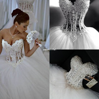 Wholesale Silver Corset Pearl Wedding Dress - 2018 Sparkly Crystal Ball Gown Corset Wedding Dress with Beadings Sweetheart Tulle Princess Bridal Gown Princess Puffy Tulle Church Bridal