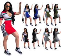 Wholesale club skirts - Women Summer Multicoloured Mini Dress Stand Collar Half Zipper Print Trendy Sexy Club Skirt For Girl Nightclub Stretchy Bodycon Dresses ML93