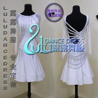 weiße lateinische ballsaalkleider großhandel-Quaste Latin Dance Dress Kleidung Salsa Kostüm Ballsaal weiß große Schaukel Latin Kleid