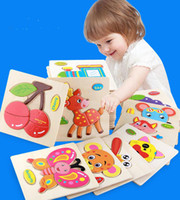 Wholesale 28 Styles Learning Education Wooden Toys d Puzzle kids Gift Brain Jigsaw Cartoon Animal Wooden Puzzles Toy Children Educativos