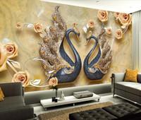 murais wallpaper cisnes venda por atacado-Melhoria home papel de parede 3d para sala de estar moderna flor cisne wallpaper mural 3d
