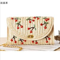 Wholesale Korean Straw Beach Bags - Mori Female Japan Hot Fruit Straw Beach Bag Handmade Cherry Embroidery Women Messenger Bag Rattan Shoulder bag