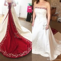 Wholesale Zuhair Murad Wedding Dress Short - Junoesque Strapless Satin Embroidery Red And White Wedding Dresses Zuhair Murad Lace Up With Sweep Train Bridal Wedding Gowns Custom Made
