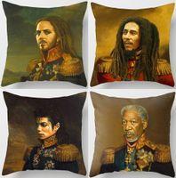 Wholesale Plain Bob - Tim Minchin Bob Marley Cushion Covers European Vintage Style Paintings Michael Jackson Donald Trump Cushion Cover Linen Cotton Pillow Case