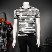Wholesale transparent long sleeve shirt - Transparent Mesh T-shirt Men Short Sleeve Slim Fit Summer Top Tee Printed Stripe Shirt Club Party Prom Casual Fashion Tshirt