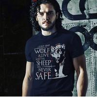 Wholesale Q Watches - Wholesale-High-Q Unisex Game of Thrones Game of Thrones Night's Watch T-shirt Jon Snow Direwolf Cotton Loose T-shirt Tee Shirt