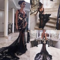 Wholesale ivory cover up evening dress resale online - Sexy Black See Through Prom Dresses Long Spaghetti Straps Deep V Neck Mermaid Evening Gowns Appliques Cocktail Party Dresses