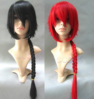 anime cabelo longo cosplay venda por atacado-Alta Qualidade Anime Ranma 1/2 Saotome Ranma Perucas Preto Vermelho Resistente Ao Calor Cabelo Sintético Longo Trançado Cosplay Peruca + Boné de peruca