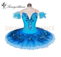 ingrosso tutus blu per le donne-blue bird variazione tutu adulto ragazze balletto professionale tutù blu classico balletto costume di scena per le donne pancake tutu skirtBT9027