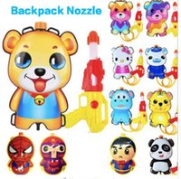 Wholesale squirt toys - 18 design Summer Water Toys Cartoon Backpack Nozzle Water Gun Toys Outdoor Beach pressure Squirt Pool Toy Backpack toys KKA5640