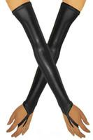 ingrosso guanto in pelle opera-Guanti senza dita in simil pelle nera gotica Halloween Accessori Cosplay per il partito Guanti lunghi da opera Fetish Catwoman Guanti Clubwear